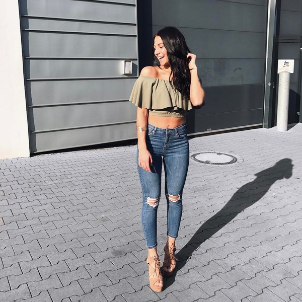 Top Tumblr Green Top Crop Tops Off The Shoulder Off The Shoulder Top Denim Jeans Skinny ...