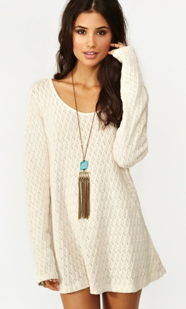 cream knit dress