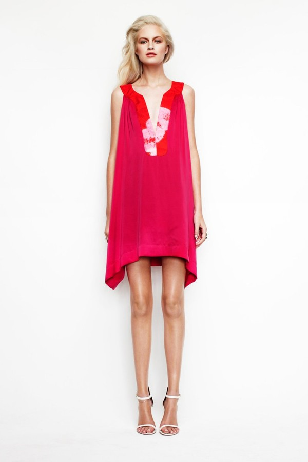dress v-neck dress fuscia silk by  house of cannon pink dress fucsia dress silk tunic style dress
