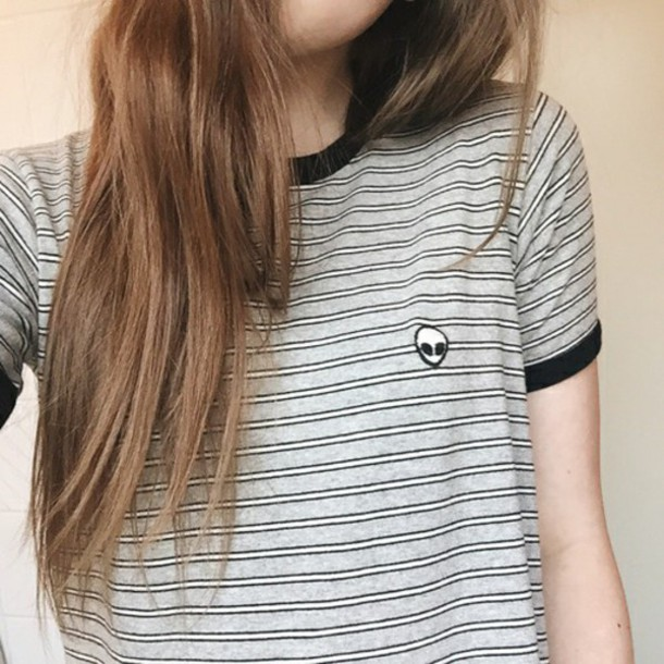t-shirt alien grunge stripes striped shirt striped sweater