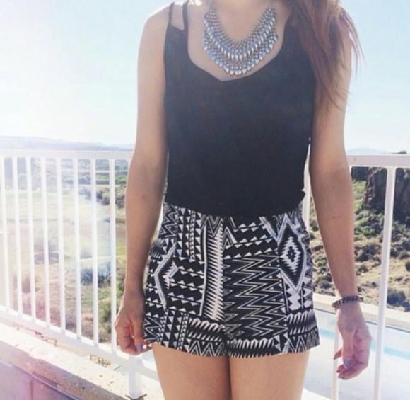 jewels shorts necklace summer outfits tank top clothes aztec aztec short black tank top black tanktop blackand white black and white silver silver necklace