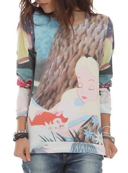 Disney alice in wonderland sleeping pullover top
