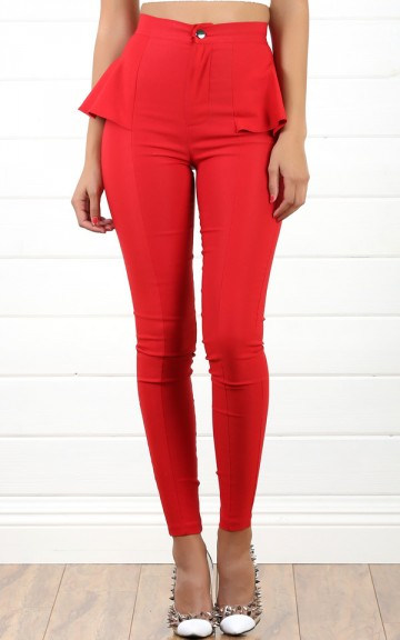 Red Side Peplum High Waist Pants and Shop Apparel at MakeMeChic.com