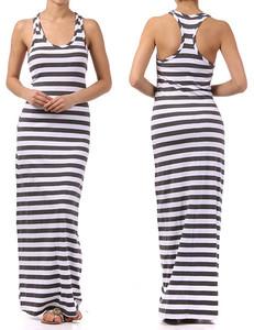 Sun Stripe Maxi Dress Long Full Length Racerback Large | eBay