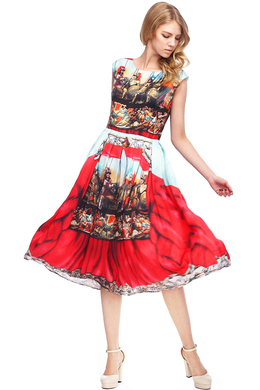 ROMWE | ROMWE Baroque Red Sleeveless Maxi Dress, The Latest Street Fashion