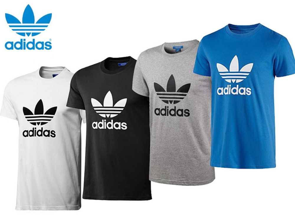Adidas originals t shirt crew neck trefoil cotton tee top for Adidas lotus t shirt