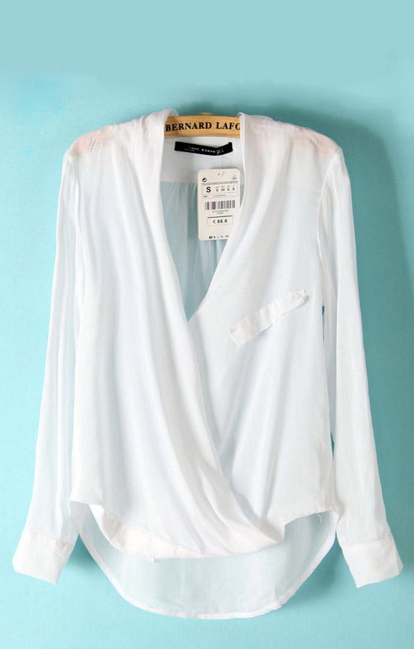 White V-neck Loose Long Sleeve Blouse