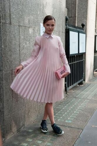 dress pink dress pleated pleated dress preppy pink shirt pink bag pouch black sneakers all pink everything see through dress