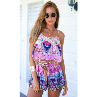 jumpsuit floral ethnic spaghetti strap strap romper sexy sexy jumpsuit floral jumpsuit party sleeveless printed lady fashion summer hot hot girl shorts crop tops hot sale top sunglass