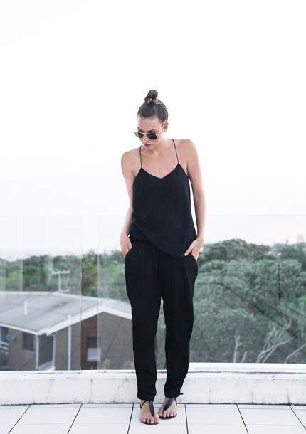modern legacy tank top pants shoes sunglasses top black cami top cami top black top summer top black pants flat sandals sandals black sandals aviator sunglasses all black everything