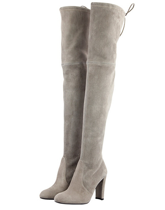 Black Chunky Heel Suede Leather Thigh High Boots Women Over The