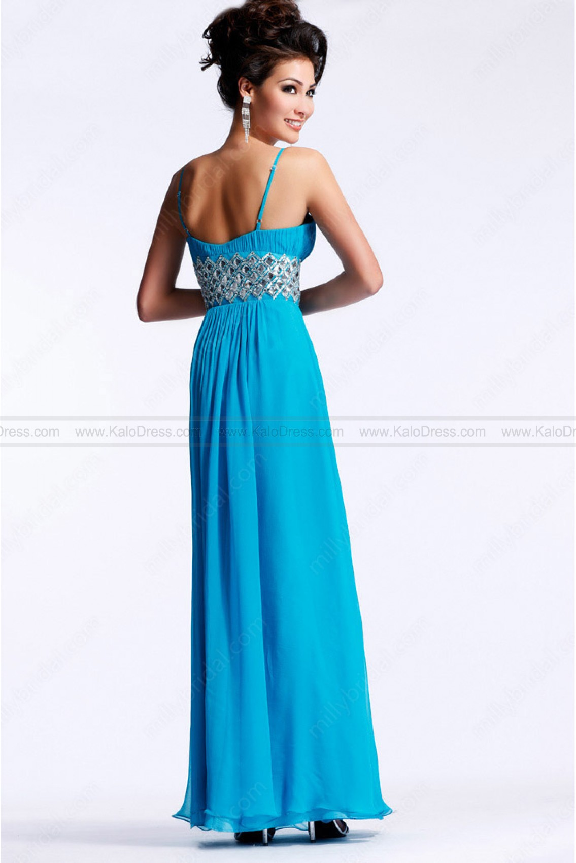 Empire Spaghetti Straps Chiffon Floor-length Blue Party Dress - Special Occasion