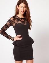 black lace,black dress,lace top,peplum,cotton lace,sheer