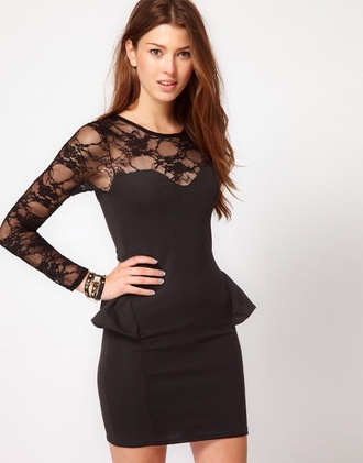 black lace black dress lace top peplum cotton lace sheer