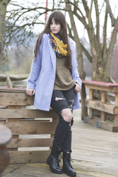 andy sparkles,blogger,scarf,blue coat,light blue,ripped jeans,combat boots,coat,jeans,sweater,shoes