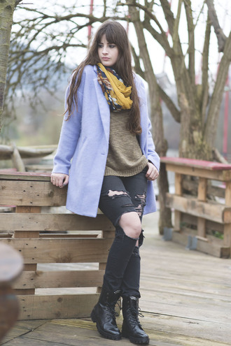 andy sparkles blogger scarf blue coat light blue ripped jeans combat boots