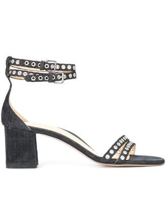 denim women sandals leather cotton black eyelet detail shoes