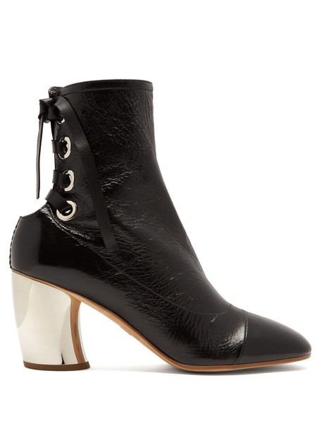 Proenza Schouler heel leather ankle boots ankle boots lace leather black shoes