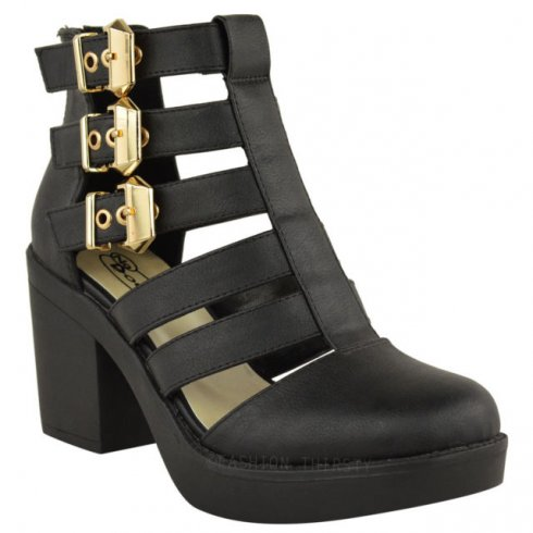 6fa61992c16 Evie Black Block Heel Gold Buckle Cut Out Ankle Boots Parisia Fashion