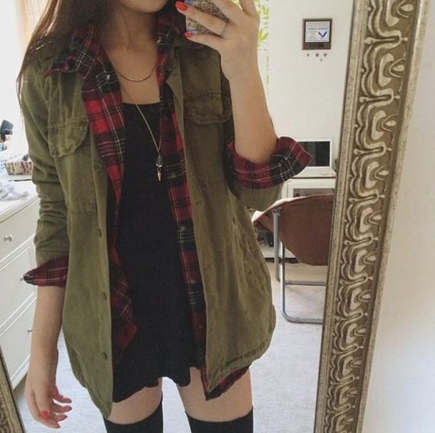 Shirt: jacket, green, tumblr clothes, military style, khaki, fur ...