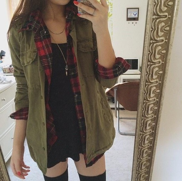 Shirt Jacket Green Tumblr Clothes Military Style