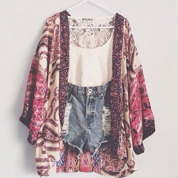 kimono white blouse tank top crop tops boho body boyfriend jeans High waisted shorts vintage pattern silk fashion lace t-shirt fashion kimono shorts denim floral sweater i want this whole outfit but mainly the shawl cardigan