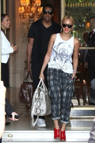 beyonce patterned trousers black and white casual elegant stylish pants