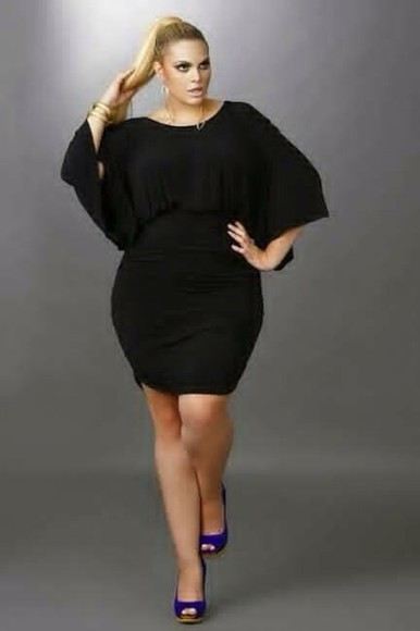 dress large black big girls short butterfly sleeves plain black party thick girls night out club dress