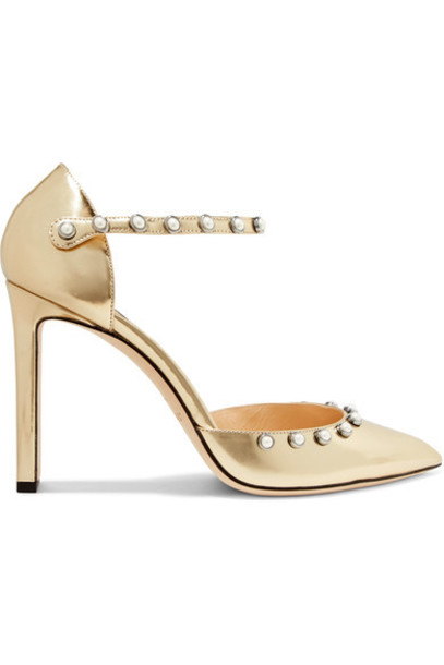 Jimmy Choo metallic embellished 100 pumps gold leather shoes