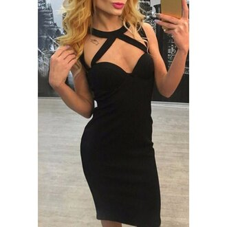 dress rose wholesale strappy black dress bodycon dress clothes classy black