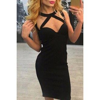 dress rose wholesale strappy black dress bodycon dress clothes classy black