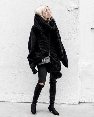 scarf oversized scarf black scarf knitted scarf black sweater oversized all black everything black jeans jeans sweater boots