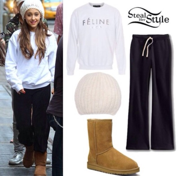 sweater ariana grande beanie ugg boots pants white black felines sweatpants