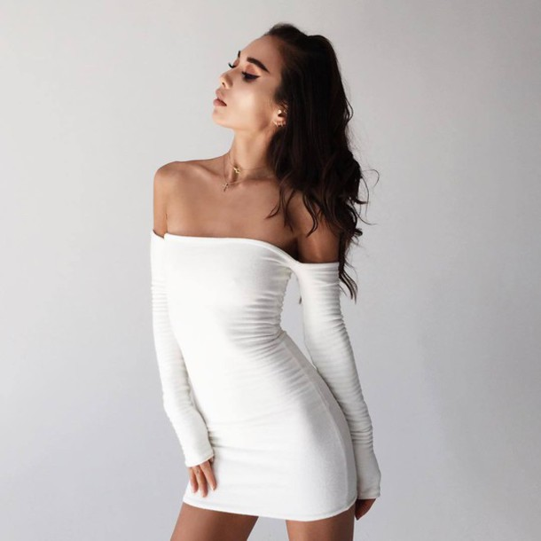 50a5ab5f339 dress tumblr mini dress bodycon dress sexy dress white dress off the shoulder  off the shoulder