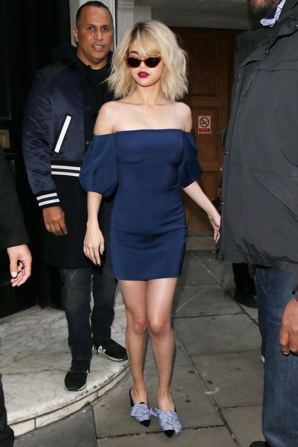 dress cats eye sunglasses selena gomez blue off shoulder dress red shoes