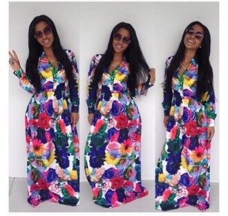 dress maxi dress maxi skirt colorful neon floral pink dress blue dress yellow red dress green dress black dress maxi slit dress slit maxi skirt blue boho dress long sleeves