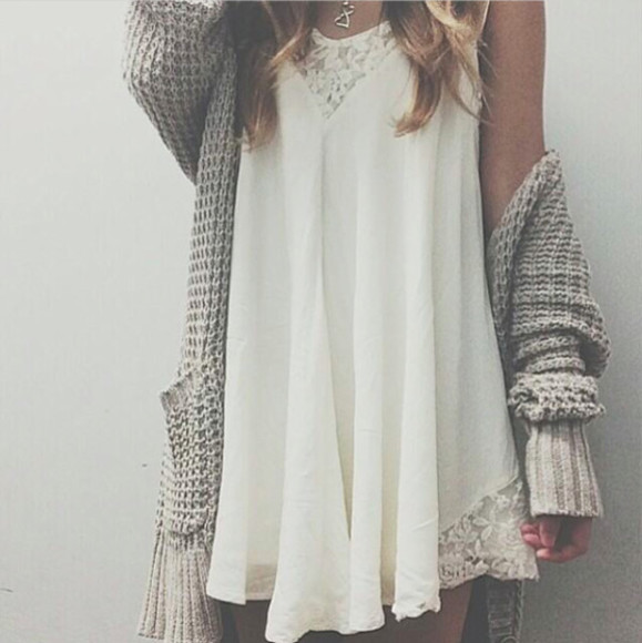 grey grey sweater white dress lace dress flower crown cute dress pretty little liars pale grunge light blue pearl strapless bikini tank top flowy loose fit boho roman romantic boho chic gypsy hippie oversized cardigan