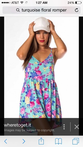 turquoise floral romper dress