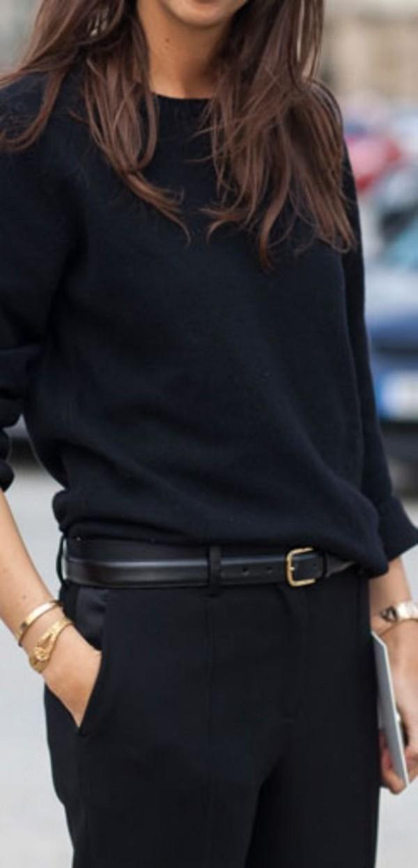 Belt Black Cashmere Sweater Pants Classy Minimalist