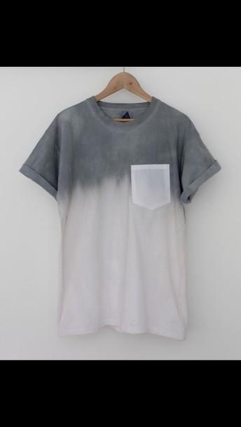 t-shirt white t-shirt grey t-shirt ombre ombre top