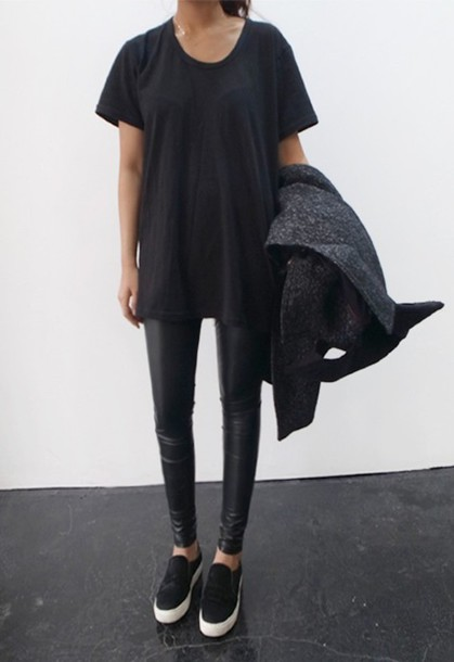 shirt leggings t-shirt lether black t-shirt