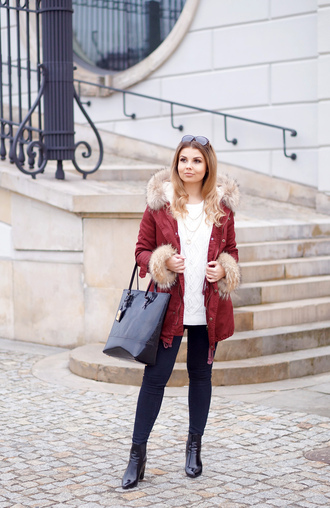 a piece of anna blogger sunglasses white sweater red coat black bag blue pants black boots