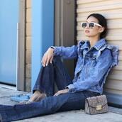 jacket,blue jacket,grey bag,tumblr,denim jacket,denim,jeans,flare jeans,bag,sunglasses