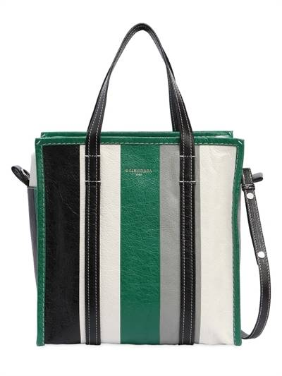 BALENCIAGA, Small bazar striped leather tote bag, Green/black, Luisaviaroma
