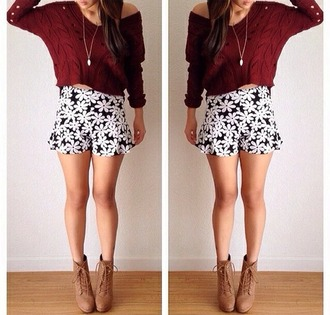 shorts flowers floral black and white girly sweater