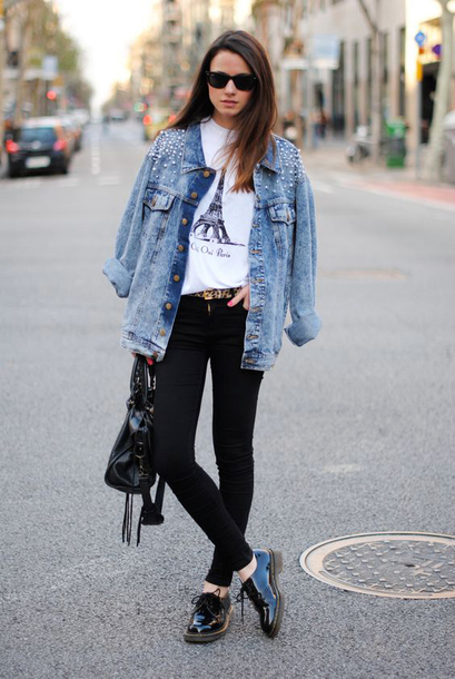 jacket sunglasses white graphic t-shirt denim jacket black jeans black oxfords blogger