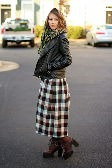 scarf blogger jacket different cands plaid skirt wedges