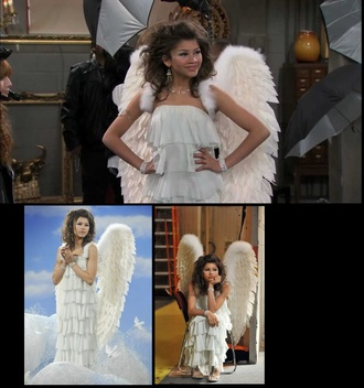 dress rinestone wings angels wings arm shake it up chicago tube dress heels zendaya disney disney channel jewelry layered rufflled