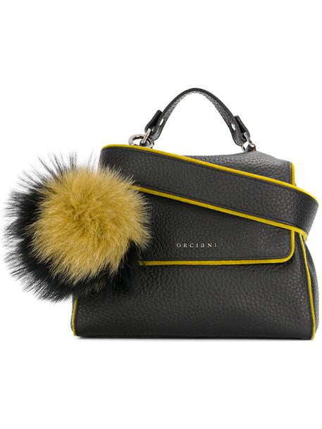 Orciani - soft line pompom tote - women - Fox Fur/Leather - One Size, Black, Fox Fur/Leather