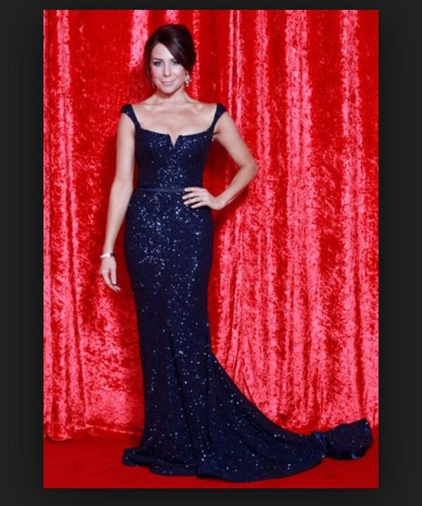navy sequins red carpet dress dress
